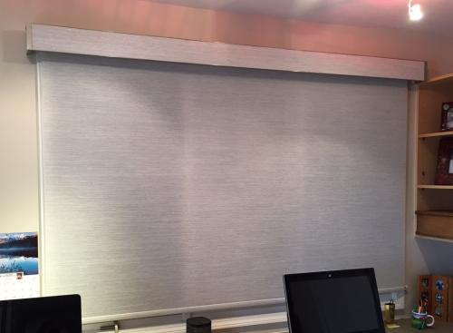 Commercial Projects - Schedule FREE Consult - Blind Wizard WV - Insolroll Elements semi-sheer shade Tahoe Fog fabric