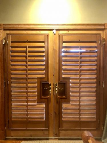 Blind Wizard - Plantation Shutters, Blinds, and Shades in West Virginia - Stained French Door Shutter